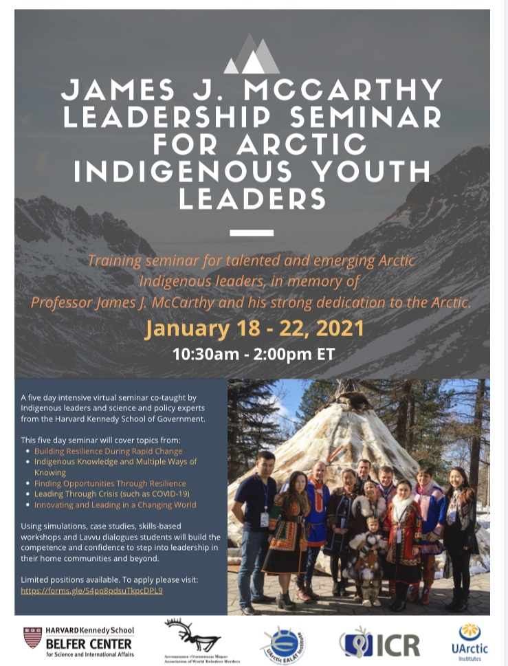 James J. McCarthy leadership seminar for Arctic Indigenous Youth Leaders
